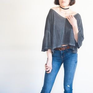 *free people* oversized raw hem off shoulder top